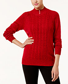 Karen Scott Pearl-Button Mock-Neck Sweater, Created for Macy's