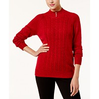 Deals on Karen Scott Petite Pearl-Button Mock-Neck Sweater