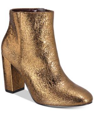 Kensie Leopolda Block-Heel Booties Women'S Shoes, Bronze