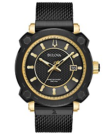 Bulova Men's Precisionist GRAMMY® Black Stainless Steel Mesh Bracelet Watch 44mm