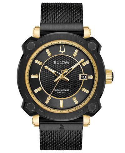 Bulova Men's Precisionist GRAMMY® Black Stainless Steel Mesh Bracelet Watch 44mm