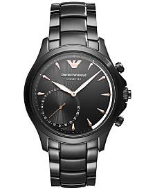 Emporio Armani Men's Connected Black Stainless Steel Bracelet Hybrid Smart Watch 43mm