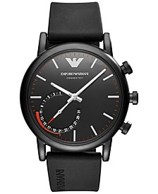 Men's Connected Black Rubber Strap Hybrid Smart Watch 43mm