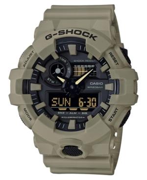 Men's Analog-Digital Beige Resin Strap Watch 53mm