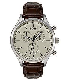 BOSS Hugo Boss Men's Chronograph Companion Brown Leather Strap Watch Strap 42mm