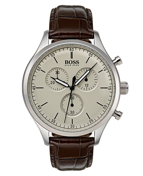 BOSS Hugo Boss Men's Chronograph Companion Brown Leather Strap Watch Strap 42mm