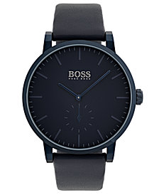 BOSS Hugo Boss Men's Essence Blue Leather Strap Watch 42mm