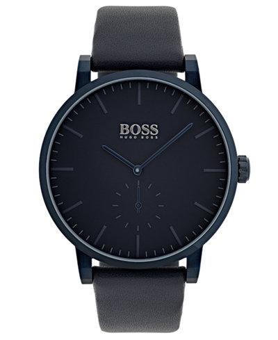 BOSS Hugo Boss Men's Essence Blue Leather Strap Watch 42mm