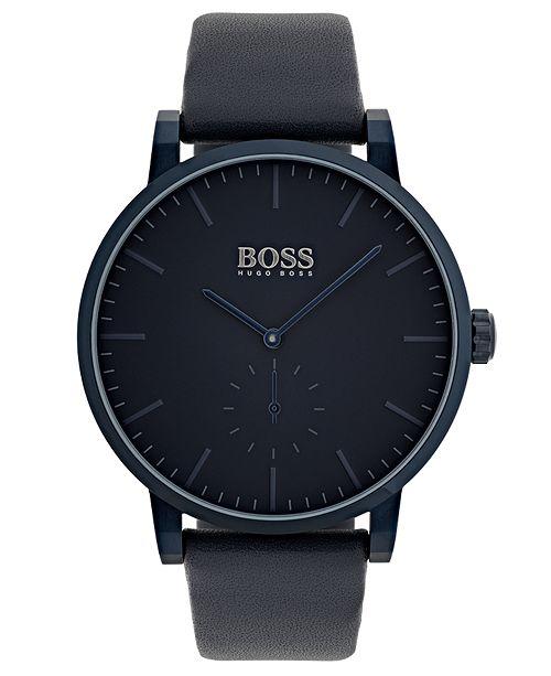 8e5ffefaf4d BOSS Hugo Boss Men s Essence Blue Leather Strap Watch 42mm   Reviews ...