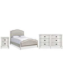 Carter Upholstered Bedroom Collection, 3-Pc. Set (Upholstered Queen Bed, Dresser & Nightstand)
