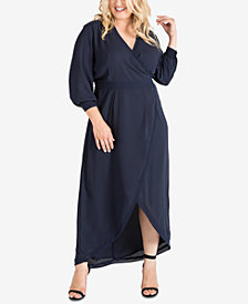 Standards and Practices Plus Size Tulip-Hem Georgette Wrap Maxi Dress