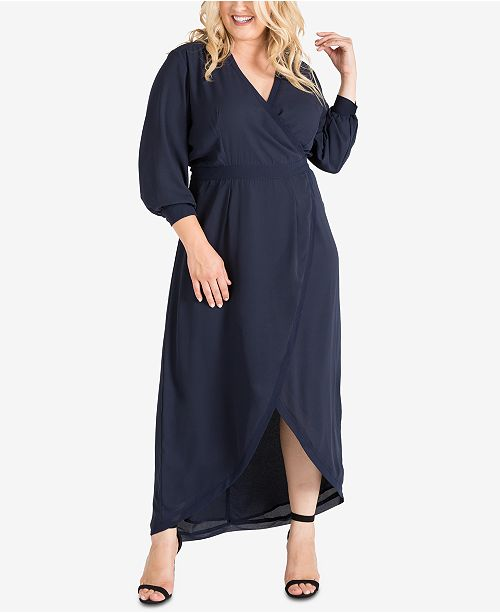 3db88fb328d ... standards and practices Plus Size Tulip-Hem Georgette Wrap Maxi Dress  ...