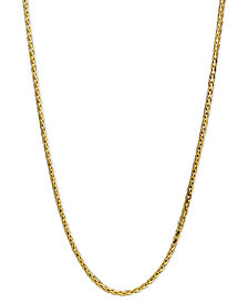 "14k Gold Necklace, 18"" Diamond Cut Wheat Chain"