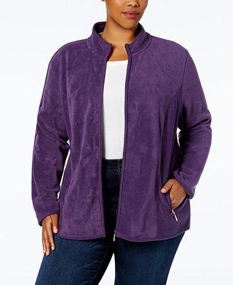 karen scott plus size zeroproof fleece jacket, created for macy's
