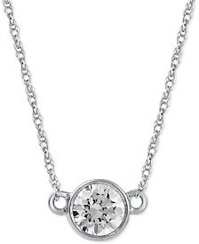Diamond Solitaire Pendant Necklace (1/3 ct. t.w.) in 14k White Gold