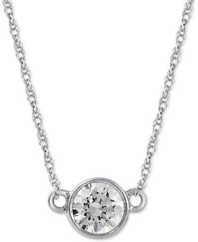 Diamond Solitaire Pendant Necklace (1/3 ct. t.w.) in 14k White Gold