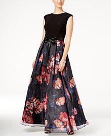 SL Fashions Printed Organza Gown