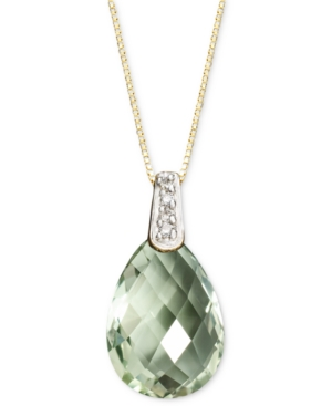 14k Gold Necklace, Green Amethyst (4-3/4 ct. t.w.) and Diamond Accent Brio Drop Pendant
