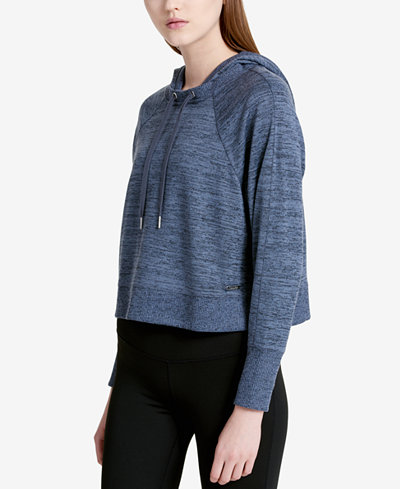 Calvin Klein Performance Marled Hooded Cropped Sweater