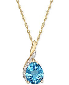 Blue Topaz (1-7/8 ct. t.w.) & Diamond Accent Pendant Necklace in 14k Gold