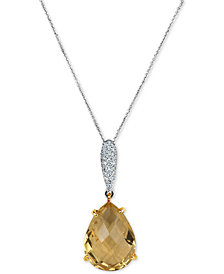 Citrine (8 ct. t.w.) & Diamond (1/8 ct. t.w.) Pendant Necklace in 14k White Gold