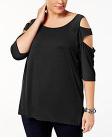 Love Scarlett Plus Size Cutout 3/4-Sleeve Top