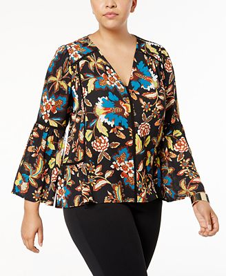 Anna Sui Loves I.N.C. Plus Size Printed Top, Created for Macy's