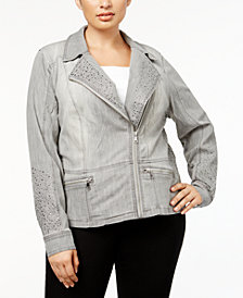 I.N.C. Plus Size Studded  Moto Jacket, Created for Macy's
