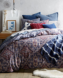 CLOSEOUT! Lucky Brand Brooke Navy Reversible Comforter Sets, Created for Macy's