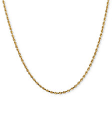 "14k Gold Necklace, 30"" Diamond Cut Rope Chain"