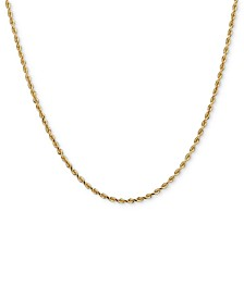 "14k Gold Necklace, 30"" Diamond Cut Rope Chain (2mm)"