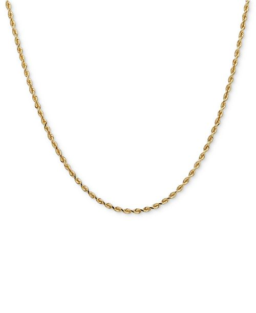 "Italian Gold 14k Gold Necklace, 30"" Diamond Cut Rope Chain (2mm)"