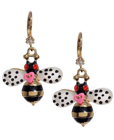 Betsey Johnson Bumble Bee Drop Earrings