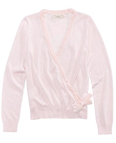 Pink Republic Velvet-Trim Wrap Sweater, Big Girls (7-16 ...