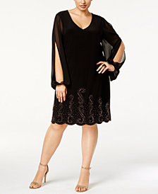 Xscape Plus Size Cold-Shoulder Beaded Dress