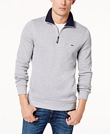 Lacoste Men's Ribbed Quarter-Zip Cotton Sweatshirt