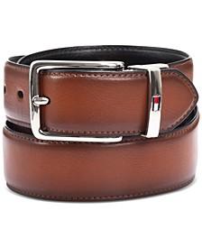 타미 힐피거 벨트 Tommy Hilfiger Mens Feather-Edge Reversible Logo Belt,Tan
