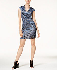 Just Cavalli Textured Printed Bodycon Dress