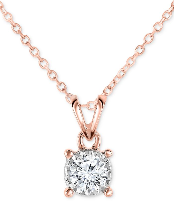 TruMiracle - Diamond Pendant Necklace in 14k Gold, Rose Gold or White Gold (1/2 ct. t.w.)