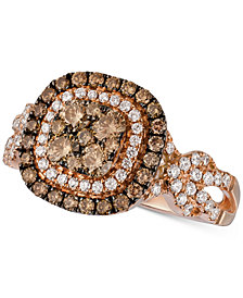 Le Vian Chocolatier® Diamond Double Halo Cluster Ring (1-1/10 ct. t.w.) in 14k Rose Gold