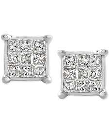 Diamond Square Cluster Stud Earrings (1/4 ct. t.w.) 10k White Gold
