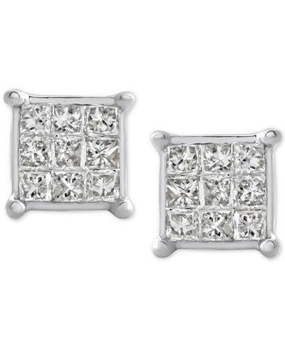 Diamond Square Cluster Stud Earrings (1/4 ct. t.w.) 10k White Gold