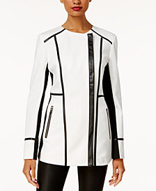 I.N.C. Faux-Leather-Trim Moto Jacket, Created for Macy's