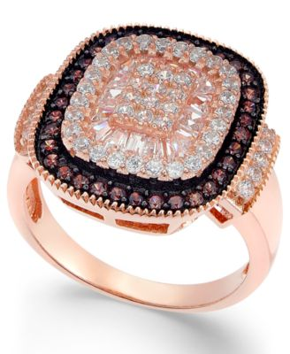 Cubic Zirconia Halo Ring in 14k Rose GoldPlated Sterling Silver