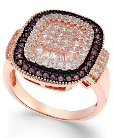 Cubic Zirconia Halo Ring in 14k Rose Gold-Plated Sterling Silver