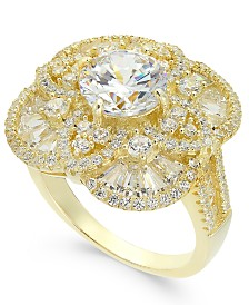 Cubic Zirconia Filigree Pavé Ring In 14k Gold Plated Sterling Silver