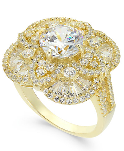 Cubic Zirconia Filigree Pavé Ring in 14k Gold-Plated Sterling Silver
