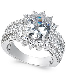 Cubic Zirconia Cluster Ring in Sterling Silver