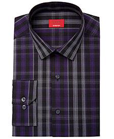 Alfani Men's Slim-Fit Stretch Windowpane Plaid Dress Shirt, Created for Macy's