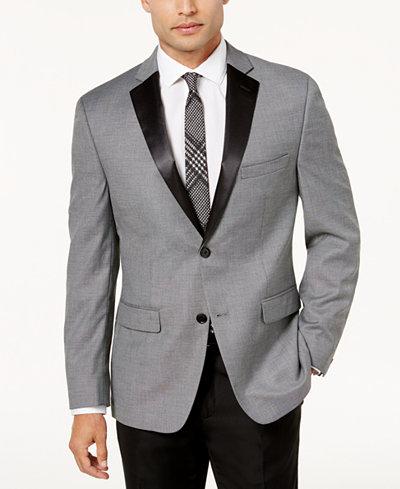 Alfani Men's Slim-Fit Black and White Mini-Grid Dinner Jacket, Created for Macy's